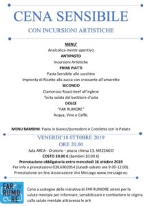 "Cena sensibile a sostegno di FAR RUMORE @ Oratorio San Luigi sala ""ARCA"" | Mezzago | Lombardia | Italia"